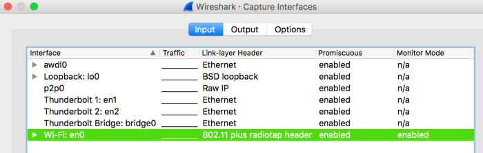 Wireshark · Capture Interfaces Wireshark, Today at 10.09.20 AM