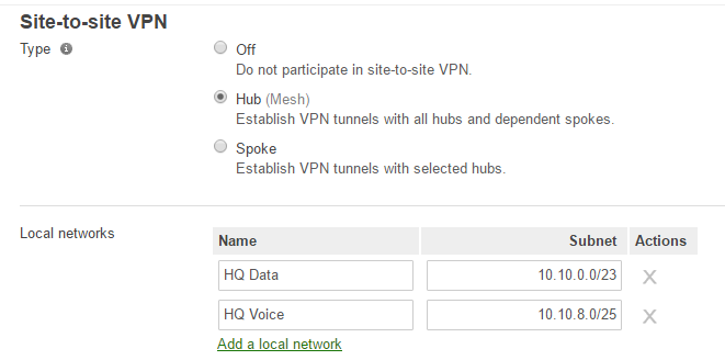 concentrator VPN settings