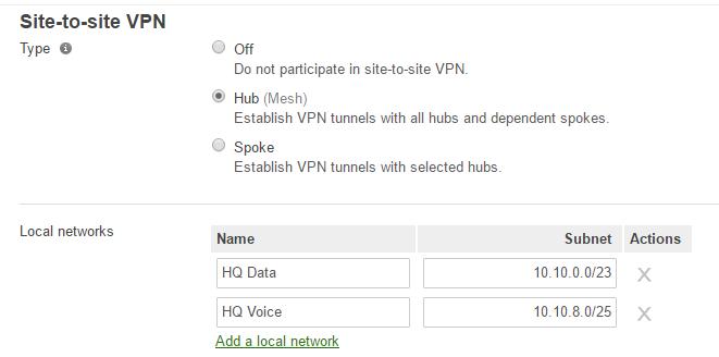 concentrator VPN settings