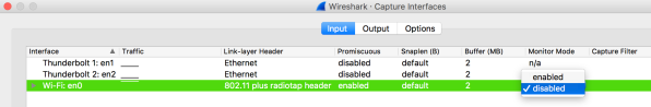 Wireshark · Capture Interfaces Wireshark, Today at 9.30.03 PM