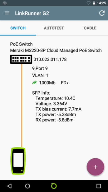 Connected Switch and Fiberoptic SFP info